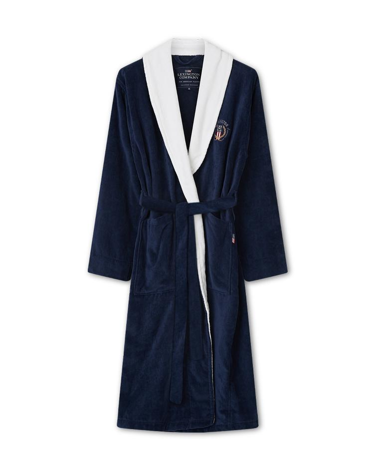 Lexington Cotton Velour Contrast Robe, Dress Blue/White L