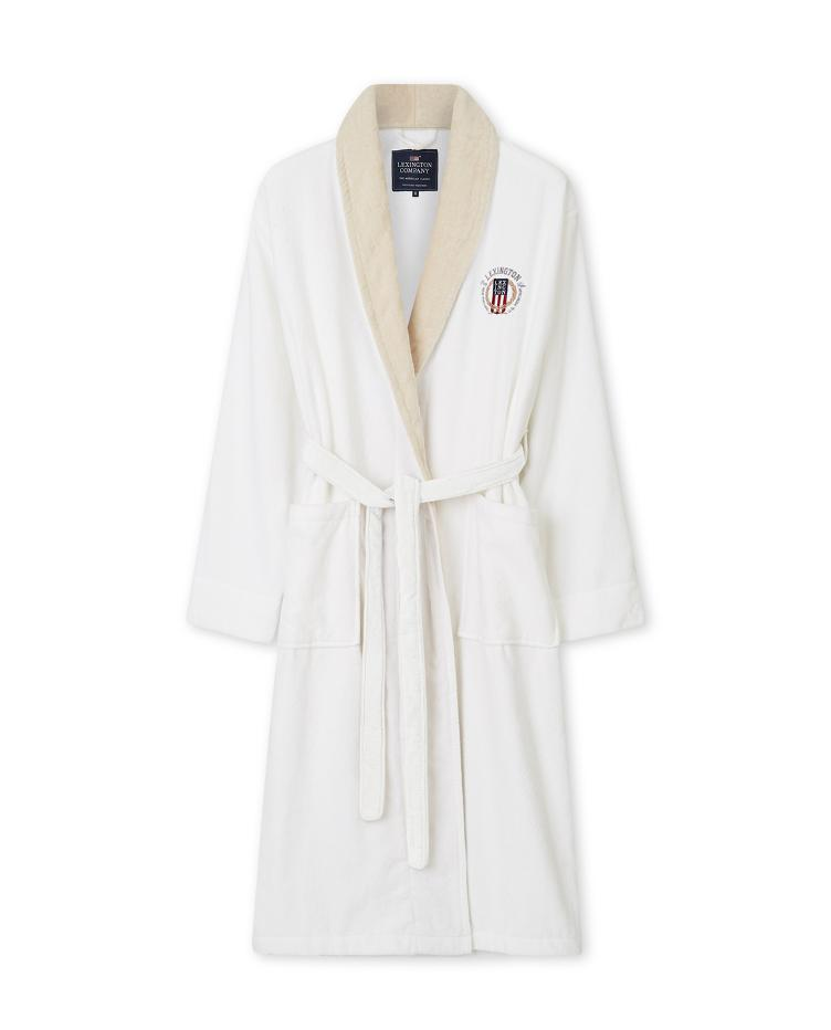 Lexington Cotton Velour Contrast Robe, White/Light Beige M