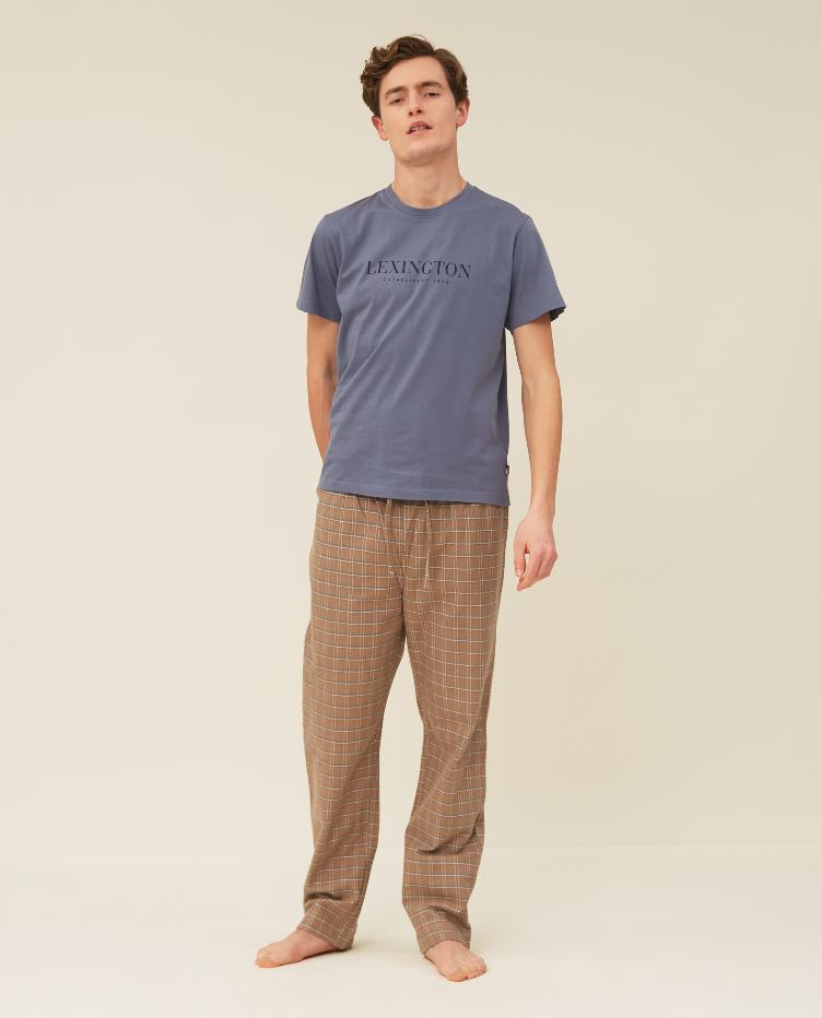 Men`s Organic Cotton Flannel/Jersey Pajama Set L