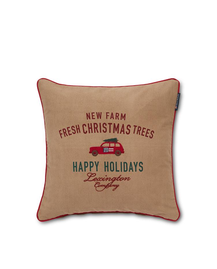 Holiday Car Cotton Twill Pillow Cover 50x50