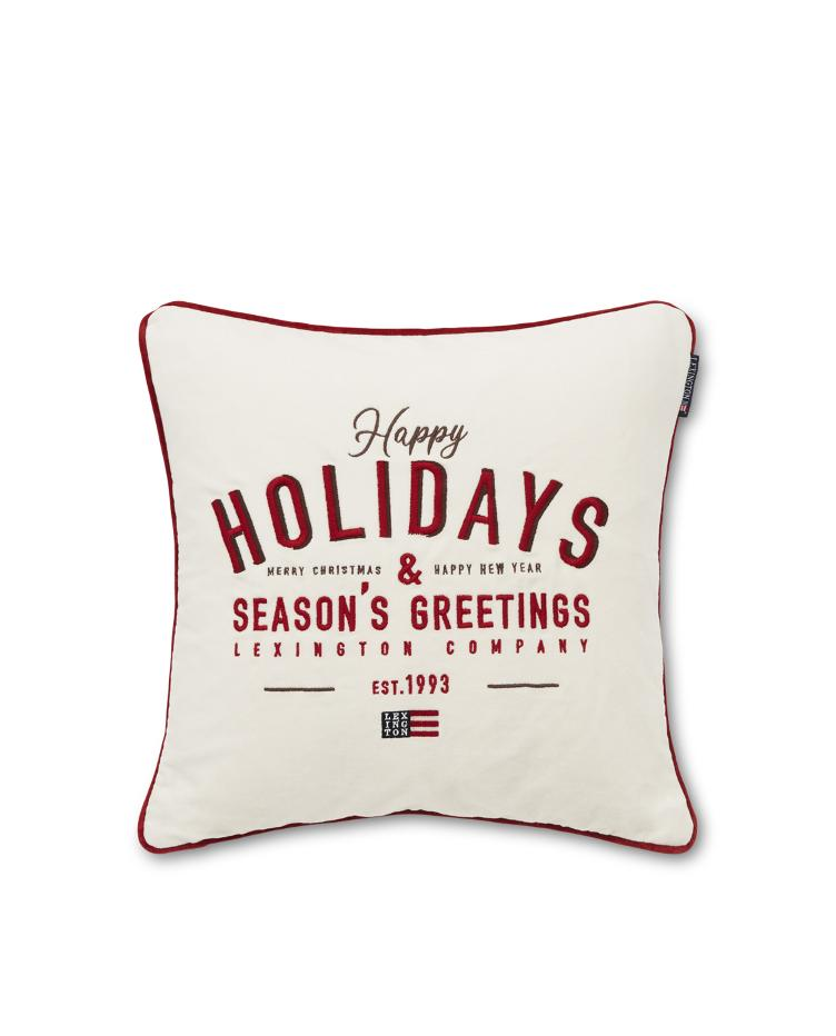 Happy Holidays Cotton Velvet Pillow Cover 50x50