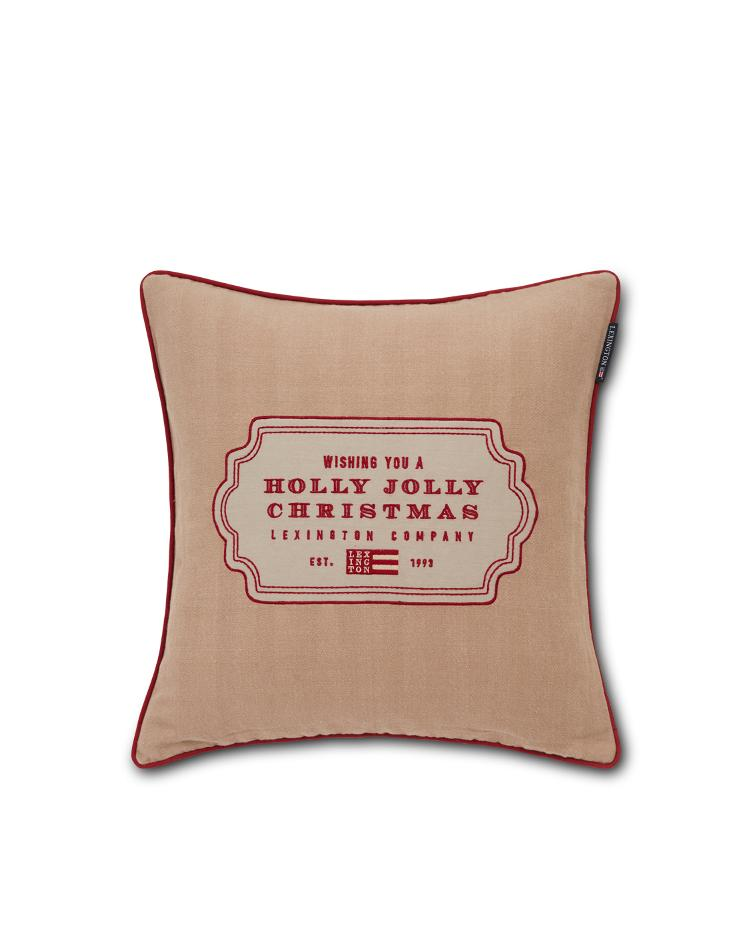 Holly Jolly Cotton Herringbone Pillow Cover 50x50