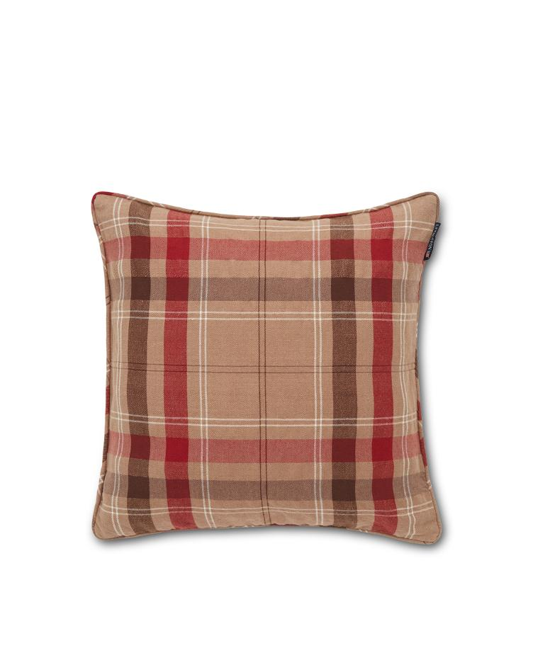 Checked Cotton Twill Pillow Cover, Beige/Red 50x50