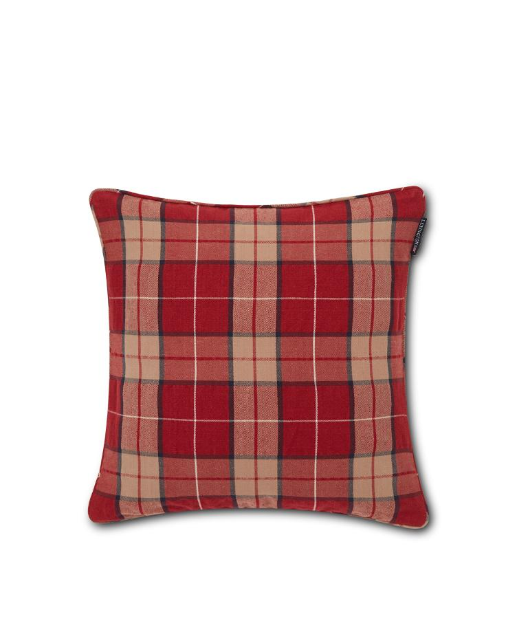 Checked Cotton Twill Pillow Cover, Red/Beige