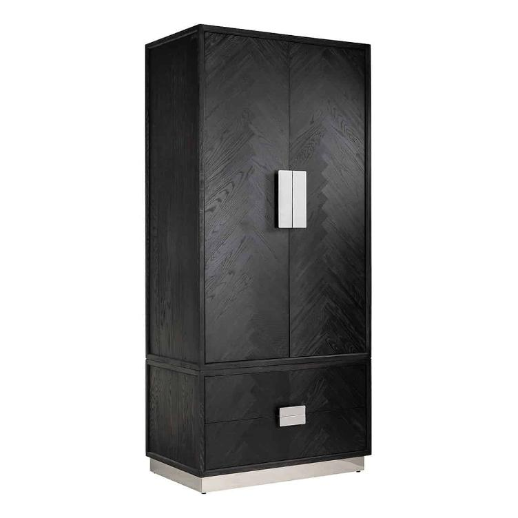 Wardrobe Blackbone silver with 2-doors 2-drawers