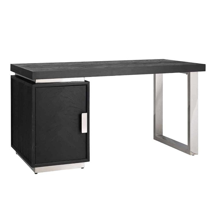 Desk Blackbone silver with 1-door
