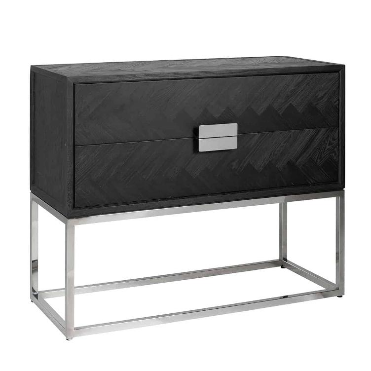 Chest of drawers Blackbone silver with 2-drawers
