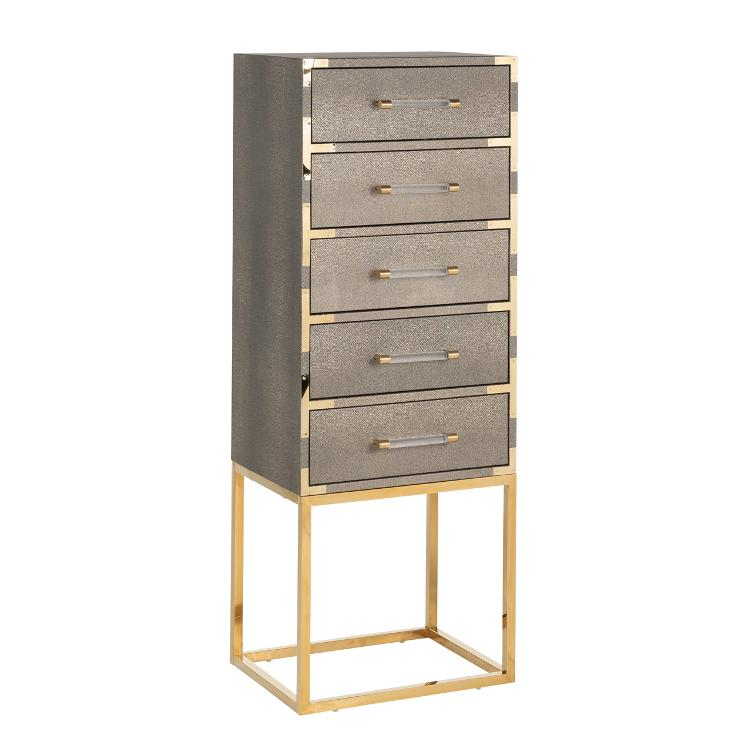 Cabinet Calesta 5 drawers shagreen look