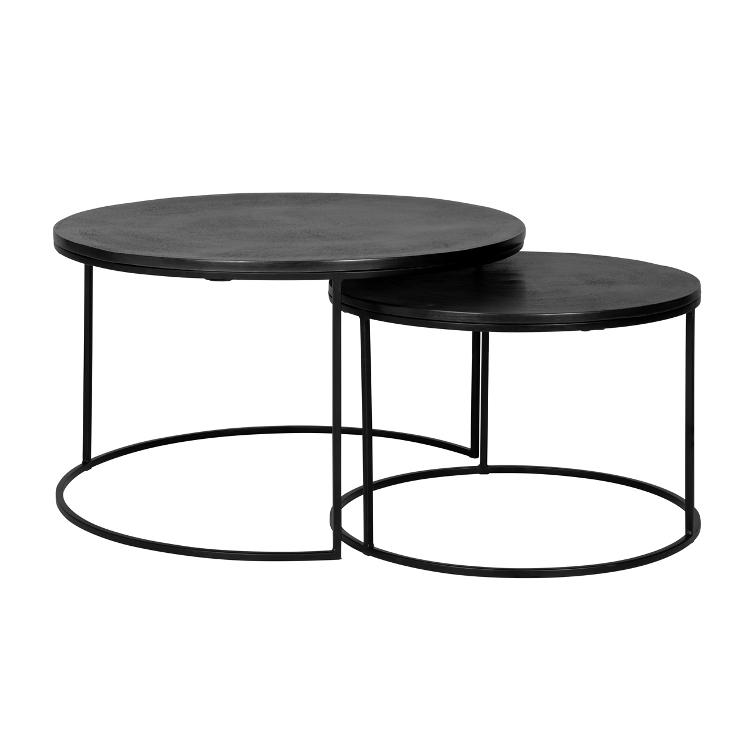 Coffee table Bolder set of 2 aluminium black