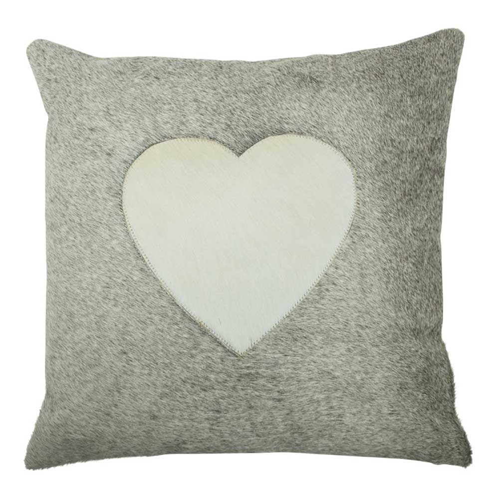 Cushion Cow Heart grey 45x45