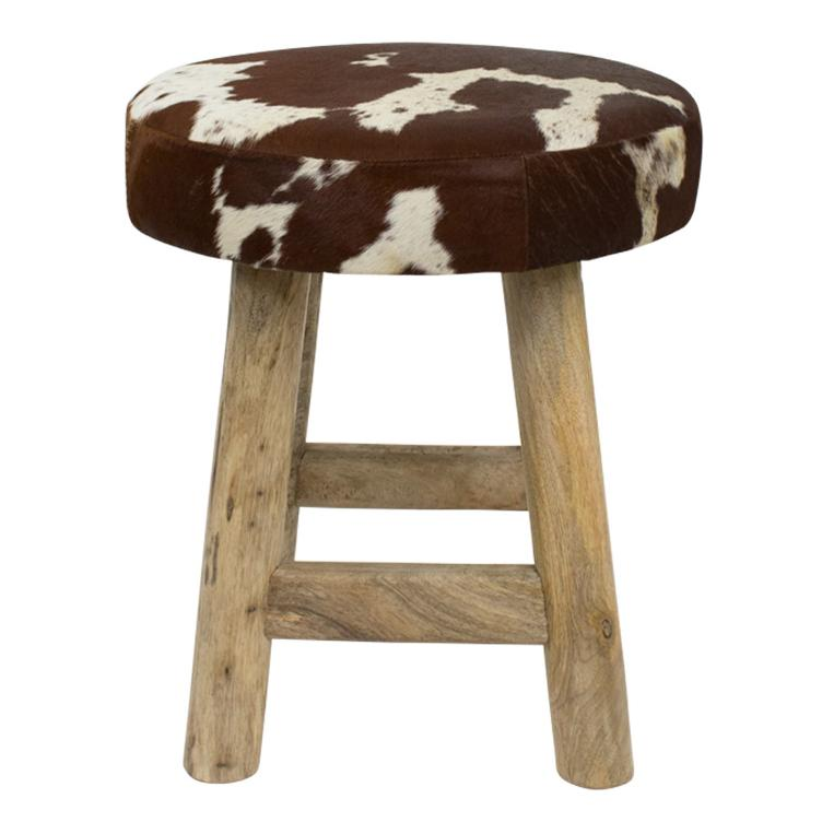Stool Chalet cow red brown round